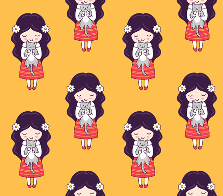 Cute little dark-haired girls with cats on a yellow background. Seamless pattern, design for kids, babies, children. Vector illustration.