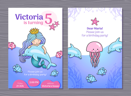Birthday party invitation card with little cute princess mermaid, dolphins and jellyfish. Cartoon vector template for girl. Imagens - 127073417