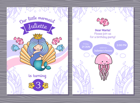 Birthday greeting card with little princess mermaid and big sea shell. Under the sea party. Vector cartoon illustration.