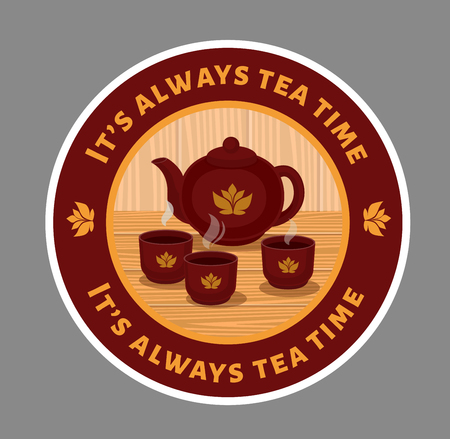 Round sticker with asian tea and teapot. Tea ceremony. Vector flat illustration.