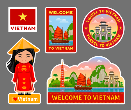 Set of vietnamese travel stickers. Attractions, places, monuments and symbols. Vector flat illustration