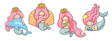 Set of beautiful mermaids with pink hair. Vector illustrations. Imagens - 124229527