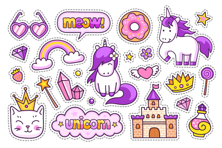 Castle, magic unicorns, kitten, crown, hearts glasses, diamond and potion. Set of stickers, pins and prints for kids. Doodle cartoon style. Vector illustration