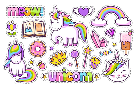 Magic unicorn, rainbow, book, meow, crown and ice cream. Set of cartoon stickers, patches, badges, pins and prints for kids. Doodle cartoon style. Vector illustration Ilustrace