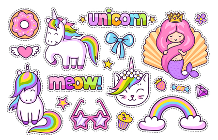 Magic unicorn, cat, cute mermaid, rainbow, donut. Set of cartoon stickers, patches, badges, pins and prints for kids. Doodle cartoon style. Vector illustration Ilustrace