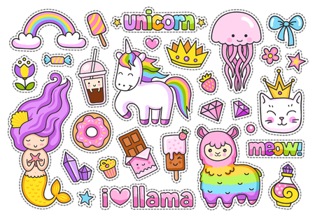 Big stickers pack. Kawaii little mermaid, llama, cat, rainbow magic unicorn, jellyfish, ice cream and crown. Set of cute cartoon characters.  イラスト・ベクター素材