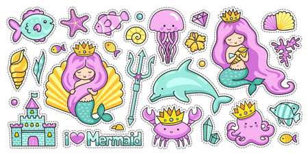 Mermaids, fish, dolphin, crab, octopus and jellyfish. Castle, trident and crown. Set of kawaii sea cartoon stickers. Vector collection