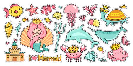 Sirena, castello, delfino e narvalo. Polpo, medusa e tartaruga. Set di animali marini divertenti. Adesivi, toppe, distintivi e spille. Illustrazione vettoriale
