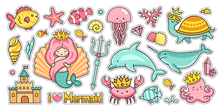 Syrena, zamek, delfin i narwal. Ośmiornica, meduza i żółw. Zestaw zabawnych zwierząt morskich. Naklejki, naszywki, odznaki i przypinki. Ilustracja wektorowa