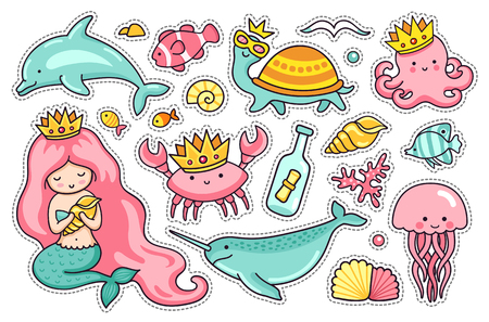 Set of sea cartoon characters. Mermaid, narwhal, jellyfish, turtle and dolphin. Octopus, crab and seagull. Stickers, pins and badges Ilustrace