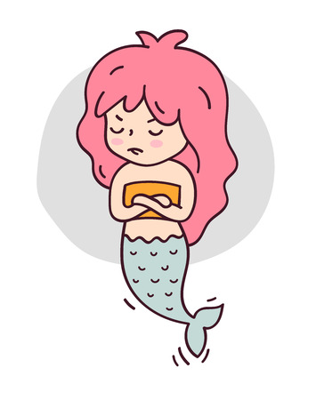 Offended mermaid arms folded. Cute cartoon character for emoji, sticker, pin, patch and badge. Vector illustration.