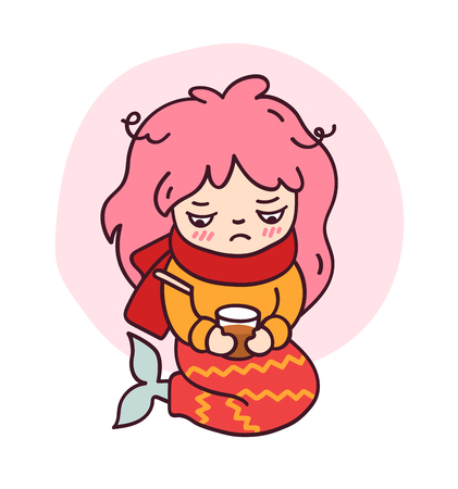 A sick mermaid with a thermometer and hot tea. Cute cartoon character for emoji, sticker, pin, patch, badge. Vector illustration.