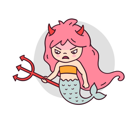 Wicked displeased mermaid with trident. Cute cartoon character for emoji, sticker, pin, patch and badge. Vector illustration.