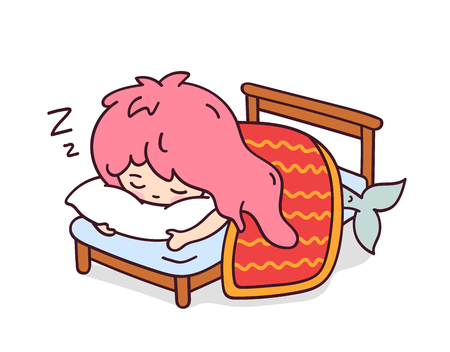 Little sleeping mermaid hugging a pillow. Cute cartoon character for emoji, sticker, pin, patch, badge. Vector illustration.