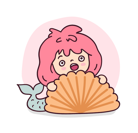 Scared mermaid hiding behind a big sea shell. Cute cartoon character for emoji, sticker, pin, patch, badge. Vector illustration. Ilustrace