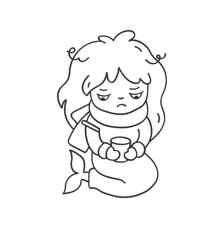 Sick sad mermaid with a thermometer and scarf. Cute cartoon character for emoji, sticker, pin, patch, badge. Vector outline illustration. Illustration