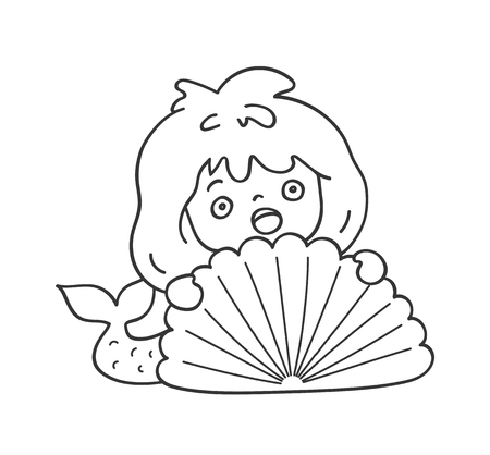 Surprised scared mermaid hiding behind a sea shell. Cute cartoon character for emoji, sticker, pin, patch, badge. Vector outline illustration.