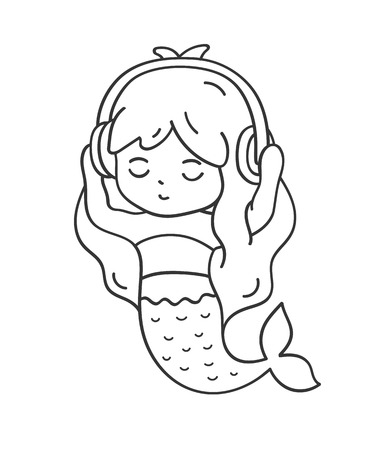 Mermaid in headphones listening to music. Cute cartoon character for emoji, sticker, pin, patch, badge. Vector outline illustration.