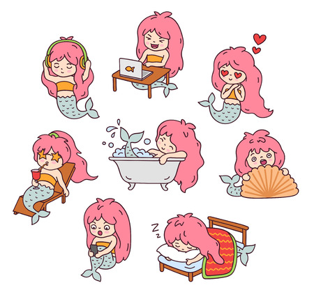 Set of cute little pink-haired mermaid, doing everyday things. Collection of kawaii cartoon characters. Doodle style. Vector outline illustration. Ilustrace
