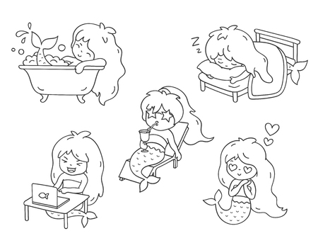 Mermaid, sunbathing on a lounger, sleeping, in love, bathing, laughing in front of a laptop. Set of cartoon character for coloring book. Vector outline illustration. Illusztráció
