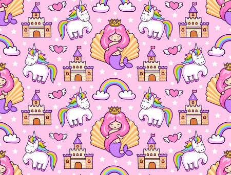 Mermaids, magic unicorns, rainbow and castle. Seamless pattern on a blue background. Print for textile, bed linen, fabric, posters, decor, paper and wallpaper. Vector illustration