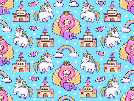 Mermaids, magic unicorns, rainbow, castle. Seamless pattern on a blue background. Print for textile, bed linen, clothes, fabric, posters, decor, paper, wallpaper. Vector illustration.