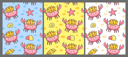 Set of seamless pattern with crabs in the crowns. Print for textile, fabric, posters, decor, paper, wallpaper. Vector illustration for kids, children, babies.