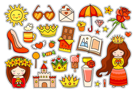 Summer colorful stickers. Set of badges, patches and pins. Little princess, umbrella, rose, chocolate, heart sunglasses and golden crown. Vector illustration.  イラスト・ベクター素材