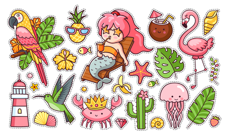 Set of cute funny summer stickers. Mermaid with cocktail, flamingo, parrot, hummingbird, crab in the crown, tropical leaves. Collection of pins, patches, icons, elements and badges. Vector illustratio