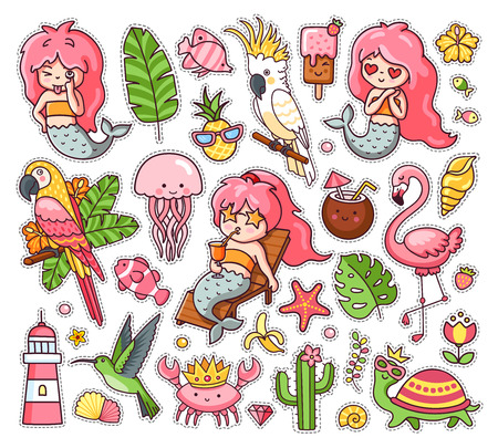 Big set of summer tropical stickers with kawaii mermaids, cockatoo, macaw, flamingo, parrot, hummingbird, crab, turtle and jellyfish. Collection of vector illustration for print, postcard, card and pi  イラスト・ベクター素材