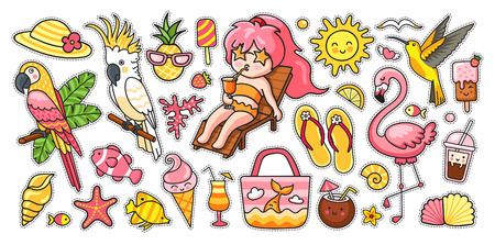 Big summer set. Tropical birds, parrots, flamingo, hummingbird, girl, deck chair, bag, panama hat, flip flops and ice cream. Vector cartoon illustrations for sticker kit, pins, print and poster