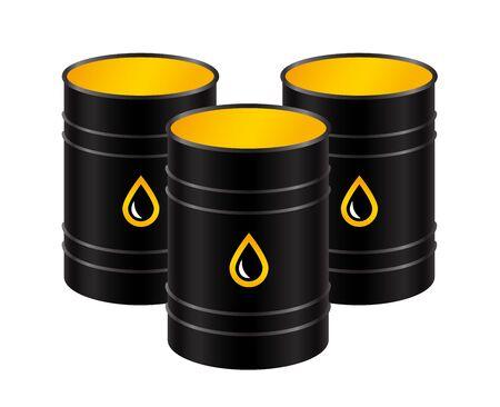 Barils réalistes en métal noir avec de l'huile, isolés sur fond blanc. Illustration vectorielle. Vecteurs