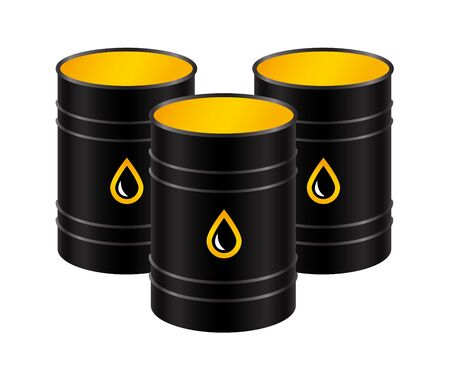 Black metal realistic barrels with oil, isolated on a white background. Vector illustration.