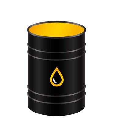 Black metal realistic barrel with oil, isolated on a white background. Vector illustration.