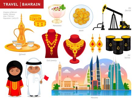 Travel to Bahrain. Manama. Set of cultural symbols, cuisine, architecture, attractions. A collection of colorful illustrations for guidebook. Bahraini people in traditional dress. Vector illustration.
