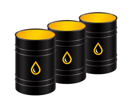 A row of black metal barrels of oil. Vector isolated illustration.