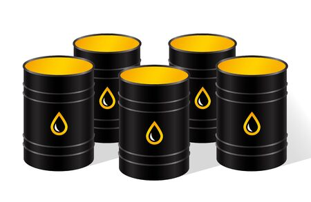 Row of black metal barrels of oil. Vector isolated illustration. 写真素材 - 127073638