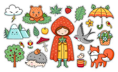 Set of forest stickers. Girl, mountain, umbrella, fox, bear, hedgehog, swallow, fly agaric, strawberry, acorn, spruce. Vector cartoon illustration.  イラスト・ベクター素材