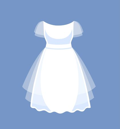 Short simple wedding dress. Vector cartoon illustration. 写真素材 - 127073648