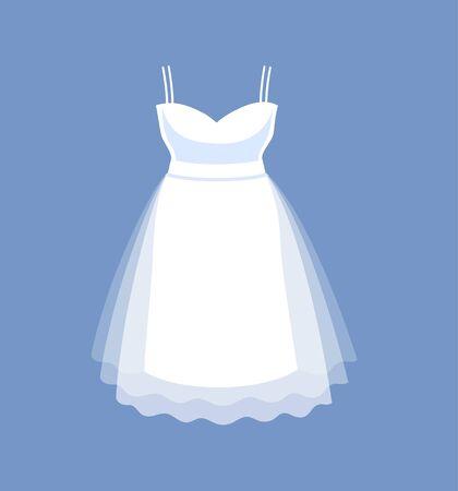 Short simple wedding dress. Vector cartoon illustration.