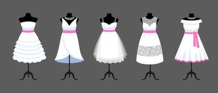 A set of short white dresses with pink ribbons. Collection of mannequins dressed in wedding clothes. Vector cartoon illustration for shop, boutique, fashion house, tailor salon.  イラスト・ベクター素材