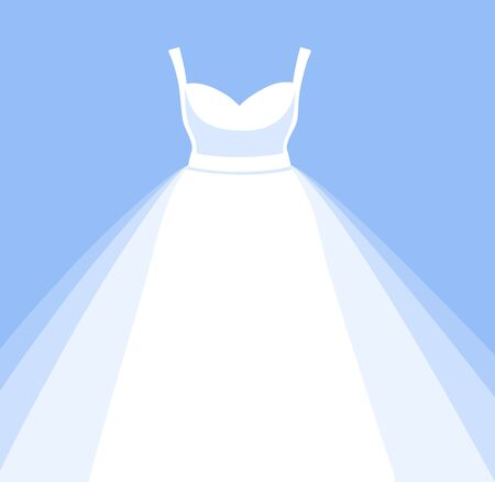 White wedding dress for bride. Simple vector illustration. 写真素材 - 127073651