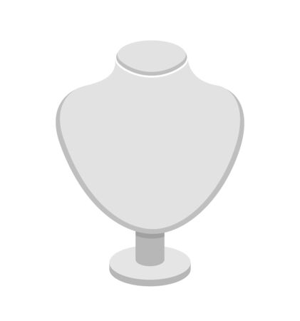 Plastic white necklace stand for jewelry. Cartoon vector mannequin, isolated on a white background. Imagens - 127073654