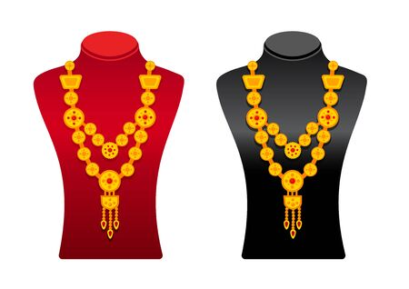 Black and red mannequins with gold necklaces. Cartoon vector stands, isolated on a white background.