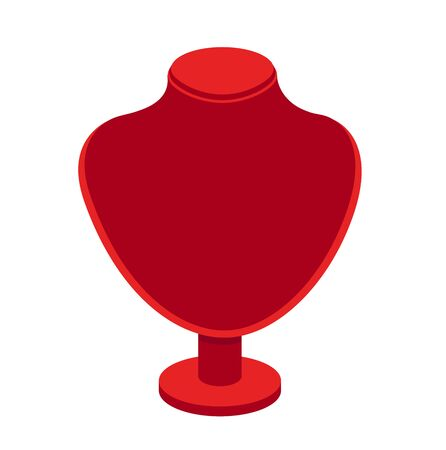 Red velvet necklace stand for jewelry. Cartoon vector mannequin, isolated on a white background.