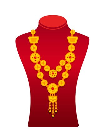 Red stand with rich golden necklace. Cartoon vector mannequin, isolated on a white background.