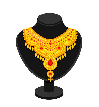 Black stand with rich golden necklace. Cartoon vector mannequin, isolated on a white background.