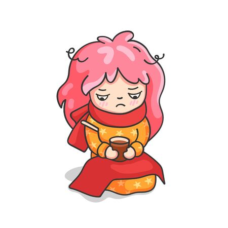 Sick girl with a thermometer and hot tea. Cute cartoon character for emoji, sticker, pin, patch, badge. Vector illustration.