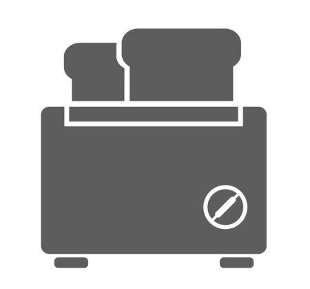 Simple toaster with two slices of bread. Vector flat icon isolated on a white background.