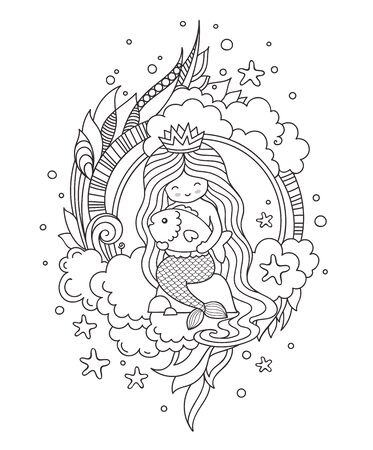 Mermaid with beautiful long hair, sitting on a stone, hugging little fish. Outline illustration.  イラスト・ベクター素材